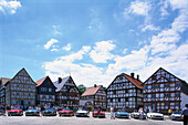Car show and old half timbered houses in the sunlight, Open Air Museum Hessenpark, Taunus, Hesse, Germany, Europe