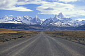 Empty road leading to Mount Fitz Roy, El Caltén, Patagonia, Argentina, South America, America