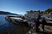 Ferry with car, Desaguadero, Titikakasee, Peru