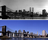 Brooklyn Bridge, Skyline before and after, USA, New York City, before and after the destruction of the World Trade Center WTC, , Images of a City Buch, S. 82/83