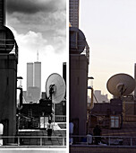 Roofs, NYC, USA, New York City, before and after the destruction of the World Trade Center WTC, , Images of a City Buch, S. 62/63