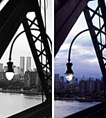 Skyline, Williamsburg Bridge, before and after, USA, New York City, before and after the destruction of the World Trade Center WTC, Images of a City Buch, S.46/47