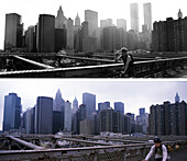 Biker on Brooklyn Bridge, before and after, USA, New York City, before and after the destruction of the World Trade Center WTC, , Images of a City Buch, S. 58/59
