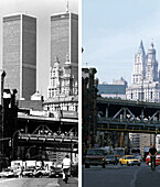 East Broadway, USA, New York City, before and after the destruction of the World Trade Center WTC, Images of a City Buch, S. 90/91