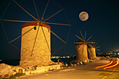 Rhodes windmills in the harbour at night, Rhodos City, Mandraki, Aegean, Greece