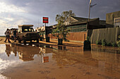 William Creek Hotel, road closed after rain, South Australia, Australia