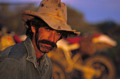 Portrait of one Man, Gary, Tilcha, Mustering camp, South Australia, Australia
