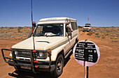 Hand-made sign for 4WD Simpson Desert crossing, travelling along the French Line, Simpson Desert, Queensland, Australia