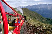 Railway of Brienz, people looking out of window, Berner Oberland, Switzerland