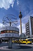 Weltzeituhr, Fernsehturm, Alexanderplatz, Berlin Deutschland