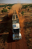 aerial view of cattle truck on dirt road, Kimberley, Australia