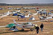 Airfield with airplains, annual horse races, Birdsville, Queensland, Australia