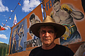 Fred Brophy and his boxing tent, Birdsville, Queensland, Australia