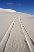 vehicle tracks in white sand dune, Australia