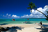 Palm beach, Coconut palms, Windsurfing, Pigeon Point, Tobago, West Indies, Caribbean