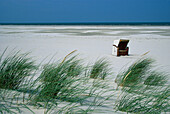 Beach chair at the beach and dunes, Juist, East Frisian Islands, East Frisia, Lower Saxony, Germany