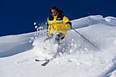 Woman, ski, freeriding, skiing freeriding