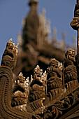 Shwenandaw Monastery, teak carving, Shwe Nan Daw Kyaung, teak Holzschnitzerei, Giebel, Goldenen Palastkloster, Mandalay, Golden Palace Monastery, originally part of King Mindon Min's Palace buildings