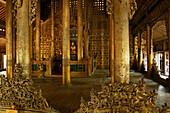 Shwenandaw, Golden Palace, Shwe Nan Daw Kyaung, teak Holzschnitzerei, Goldenen Palastkloster, Mandalay, Golden Palace Monastery, originally part of King Mindon Min's Palace buildings