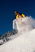 Schneeschuh, Action, Sprung, Hochkoenig Oesterreich