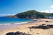 People on the beach, Jersey, Channel islands, Great Britain, Europe