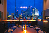 The deserted Jester`s Restaurant at Chao Phraya river in the evening, Bangkok, Thailand, Asia