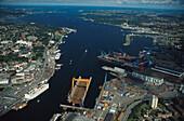 Kieler Foerde, Luftbild, HDW Werft, Kiel- Schleswig- Holstein, Deutschland