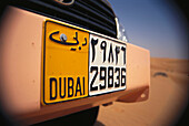 Registration plate at a jeep, Al Maha Desert Resort, Dubai, V.A.E., United Arab Emirates, Middle East, Asia