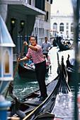 Gondolier on a gondola, Venice, Veneto, Italy, Europa