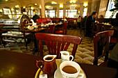 Serving tray with a coffee in the Cafe de Flore, Cafe de Flore, Boulevard Saint-Germain, Paris, France