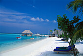 Huts and palm beach in the sunlight, Four Seasons Resort, Kuda Hurra, Maledives, Indian Ocean