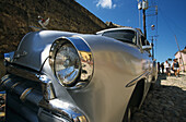 fifties car, parked, detail of front, Cuba