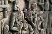 stone reliefs, Temple Bayon Angkor Thom, Cambodia