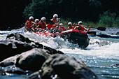 Rafting on river Tiroler Achen, Tyrol, Austria