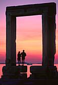 Sundown, Temple gate, Palatia, Chora, Naxos, Cyclades, South Aegean, Greece