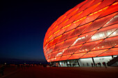 View at the illuminated Allianz Arena, Munich, Bavaria, Germany