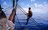 Sailor, Lookout, Traditional Sailing Ship, Open Ocean South Pacific