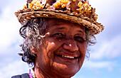 Lady, Head, Makemo, Tuamotu Islands French Polynesia, South Pacific