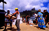 Louis, unloading, Hatiheu, Nuku HIva, Marquesas French Polynesia, South Pacific