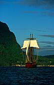 Full sails, Sailing Vessel, Bora Bora French Polynesia, South Pacific, PR