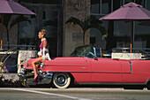 Modeshooting am Ocean Drive, Miami Beach, Florida USA