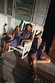 Paar auf der Veranda, Editorial use only