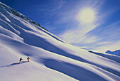 Skiing tour above Zuers, Lech at Arlberg, Vorarlberg, Austria