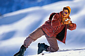 Frau im Ski- Outfit