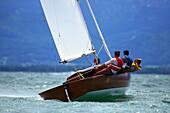 Sailboat on Lake Chiemsee, Upper Bavaria, Germany
