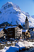 View to Lech in winter, Vorarlberg, Austria