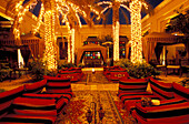 Illuminated courtyard of the Royal Mirage Hotel in the evening, Dubai, United Arab Emirates, Middle East, Asia