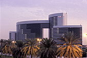 Exterior view of the Grand Hyatt Hotel at sunset, Dubai, United Arab Emirates, Middle East, Asia