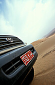View at registration plate of a jeep at the desert, Sultanat Oman, Middle East, Asia
