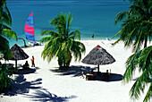 People on the beach in the sunlight, Badian Island, Cebu, Philippines, Asia